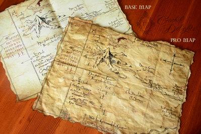 """Replica della mappa de """"Lo Hobbit"""" con Rune Lunari UV, luce e chiave di erebor mini!"""