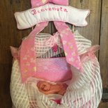 Fiocco nascita cicogna coccarda rosa culla in pasta di mais fatto a mano