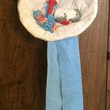 Fiocco nascita cicogna coccarda azzurro bimbo in pasta di mais fatto a mano