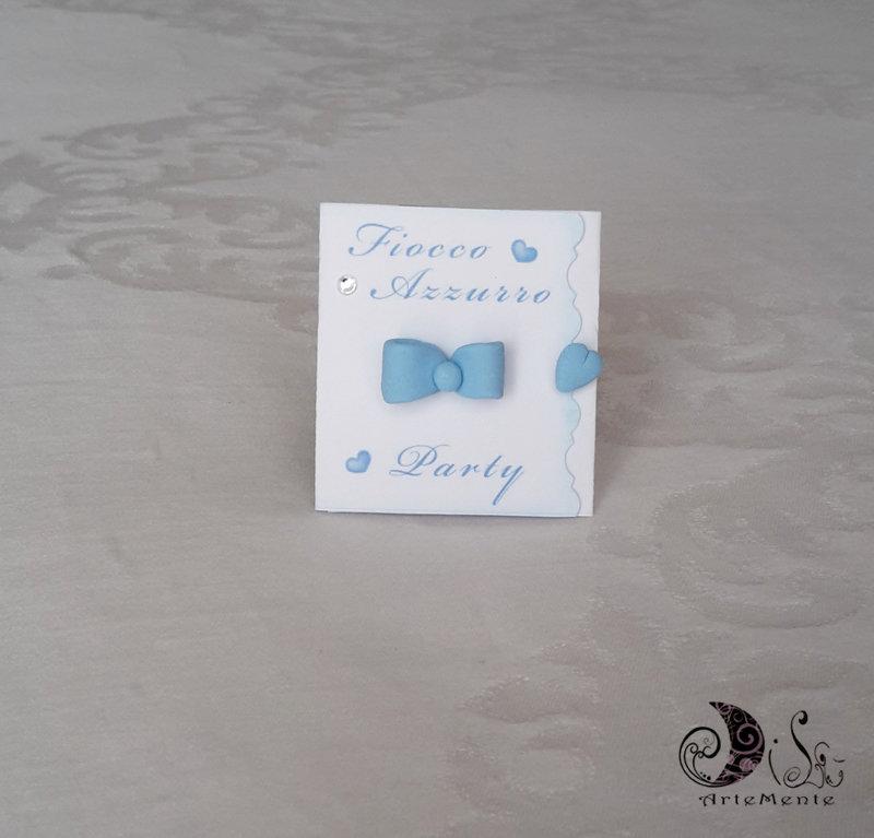 """Invito Card Art baby shower, bebè in arrivo, bimbo party, festa a tema nascita """"fiocco azzurro Party"""""""