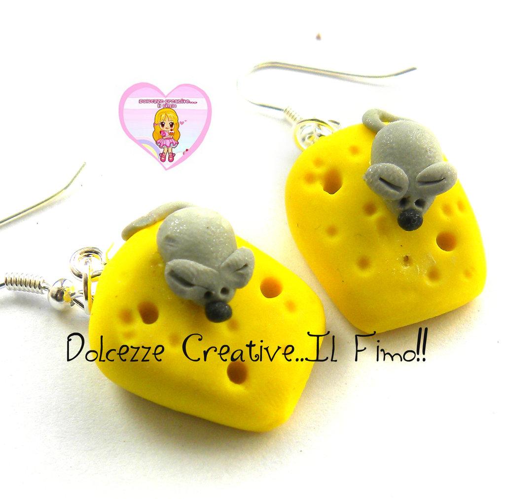 Orecchini Topo e formaggio - in fimo handmade miniature kawaii