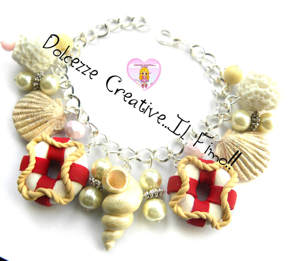 Bracciale Estate - Salvagente, conchiglie, perle e pietre - idea regalo kawaii