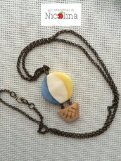 Collana lunga ottone mongolfiera giallo / azzurro / bianco