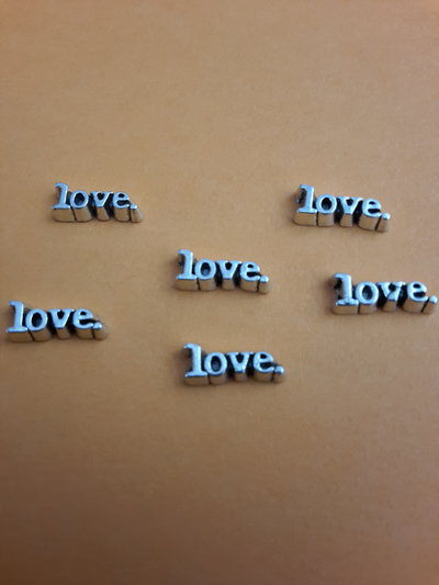 6 Floating charms 'Love' argentati
