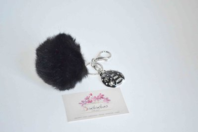 pon pon portachiavi nero pelo grande coccinella strass ciondolo color argento