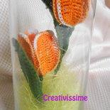 Tulipani arancioni all'uncinetto in vaso di vetro - fatto a mano