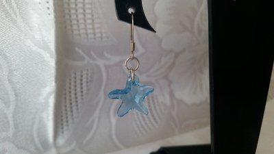Orecchini pendenti con cristallo sw a forma di stella marina color aquamarine