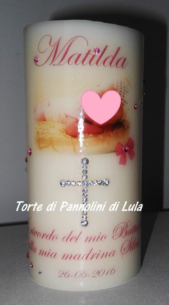 Candela profumata personalizzata nome foto strass IDEA REGALO battesimo nascita