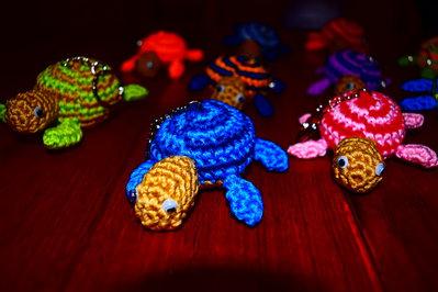 Set 10 Portachiavi a tartaruga realizzati all'uncinetto