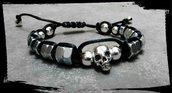 Bracciale unisex in cordino nero con teschio e pallini argentati, misura regolabile, rock, fashion