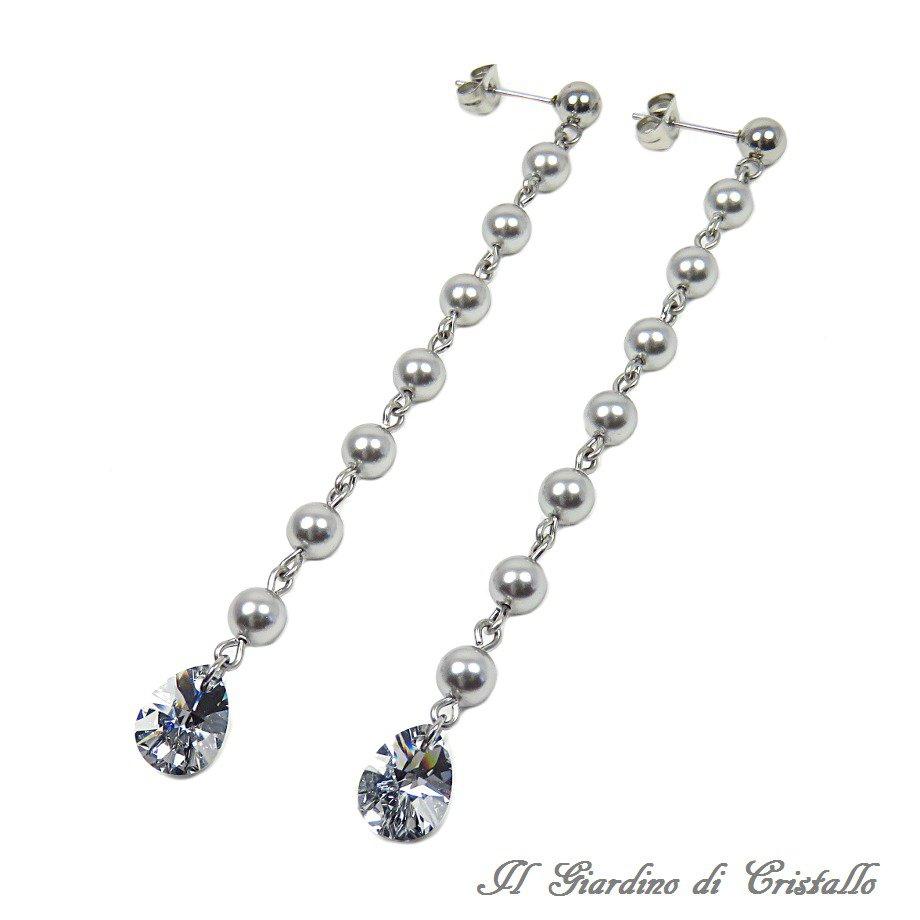 Orecchini lunghi in acciaio con perle e gocce Swarovski grigio argento fatti a mano - Mughetto