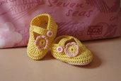 Scarpine ballerine neonato cotone giallo con fiore rosa