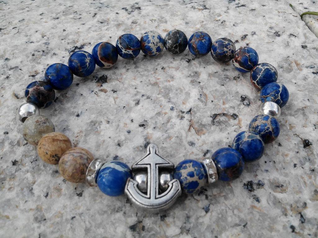 Bracciale elastico, fatto a mano, con vere pietre naturali, diaspro paesaggio e diaspro imperiale blu, unisex, charm ancora