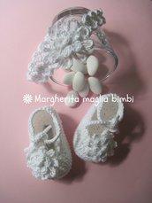 Speciale Battesimo! Scarpine e fascetta con fiore in puro cotone bianco - uncinetto