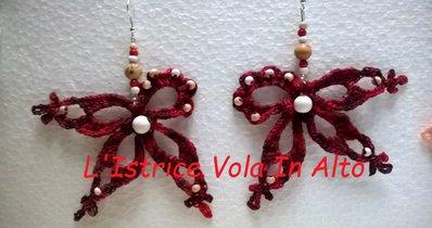 Orecchini pendenti con perle, in cotone, fatti a mano