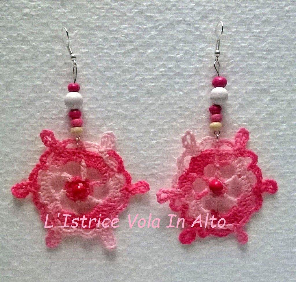Orecchini cotone rosa sfumato pendenti, fatti a mano  in cotone