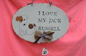 "Quadro ""  I LOVE MY JACK RUSSELL""  shabby chic  dipinto a mano"