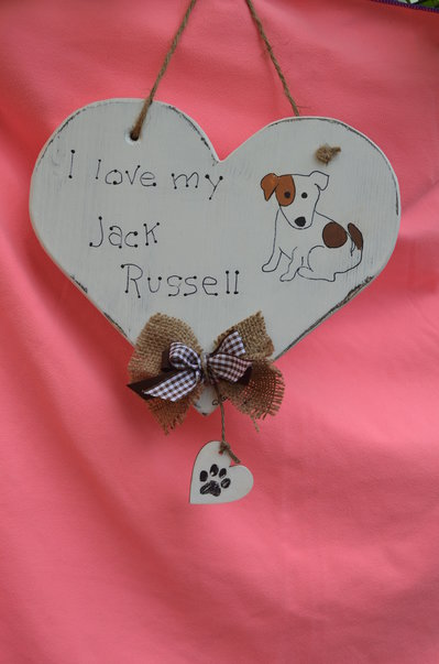 """CUORE  """" I LOVE MY JACK RUSSELL"""" SHABBY SCHIC"""