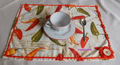 Tovaglietta americana stampe con peperoncini e fiore uncinetto - fatto a mano