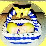 Bomboniera neonato su cesto