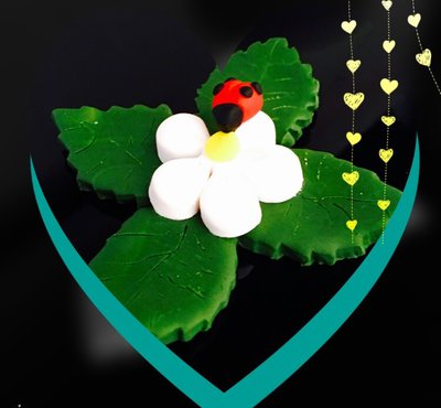 Portafortuna coccinella su fiore