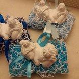 bomboniera nascita battesimo bimbo pom pom