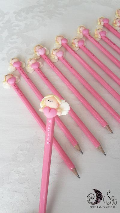 Bomboniere matite angelo con cuore personalizzabili con nome glitter perlescente per bomboniere battesimo, comunione