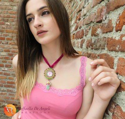 Collana embroidery cabochon peyote Allegra 02