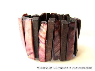 Bracciale elastico in legno e madreperla - spese di spedizione GRATIS