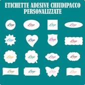 100 Etichette adesive chiudipacco personalizzate vostro logo a colori