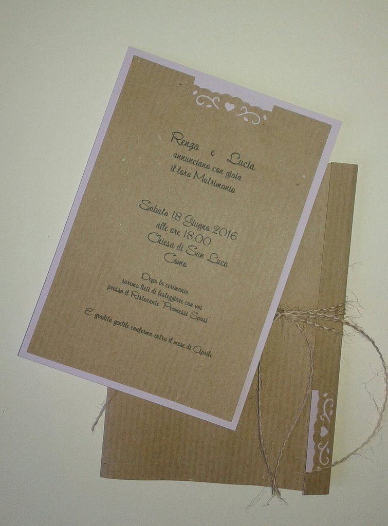 Estremamente Partecipazione di nozze shabby chic in carta Kraft e juta - Feste  VA52