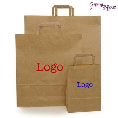 100 Shopper Avana Maniglia Piatta 18x25 con stampa del tuo logo