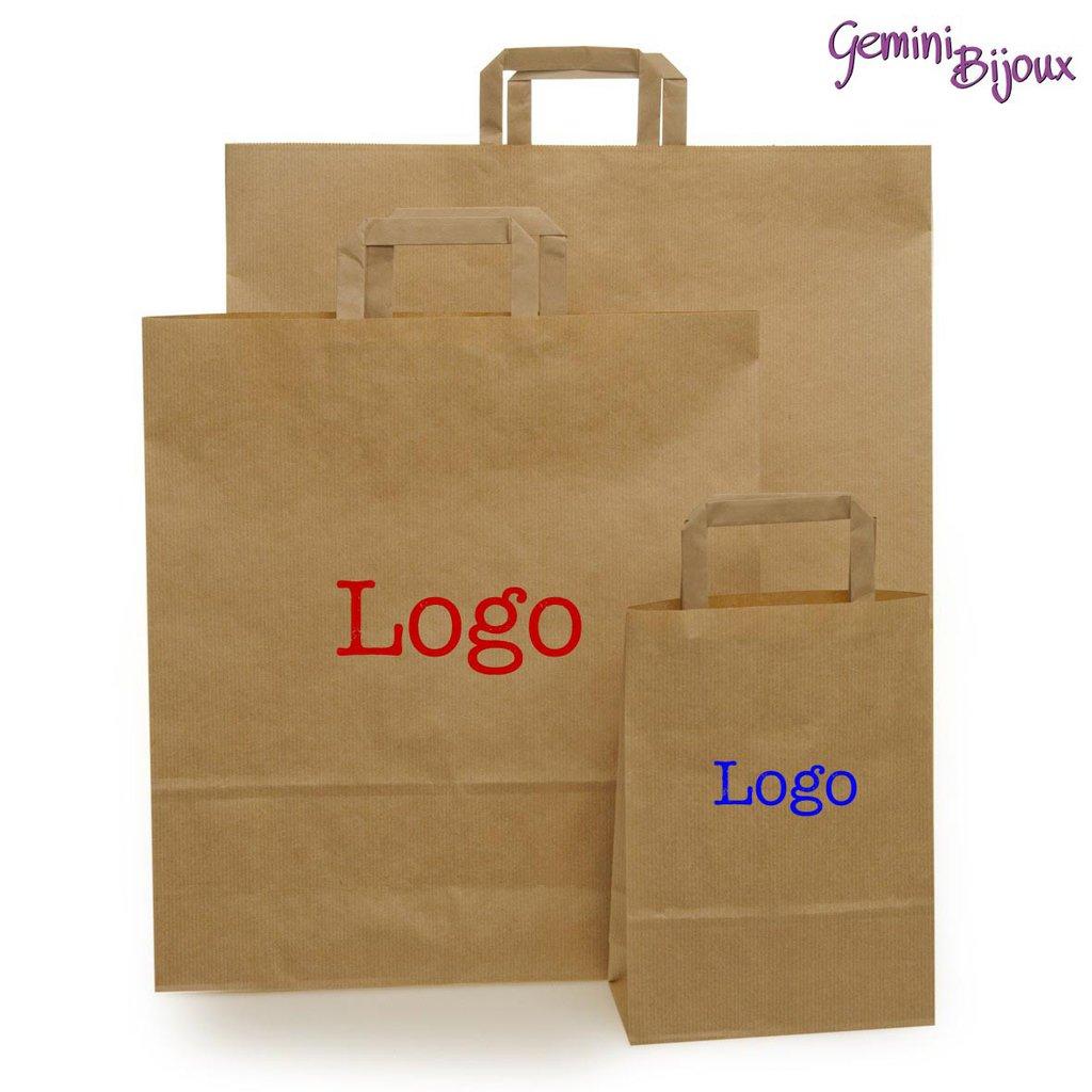100 Shopper Avana Maniglia Piatta 28x36 con stampa del tuo logo