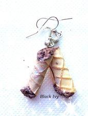 Orecchini pendenti cannoli al cioccolato in fimo