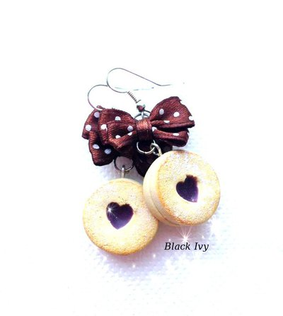 Orecchini pendenti biscotti al cioccolato  in fimo