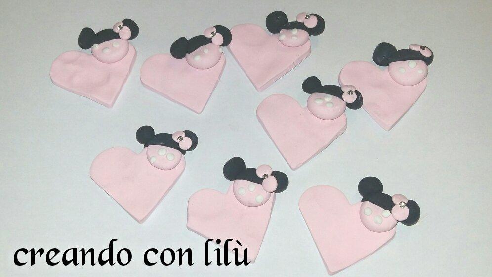magnete o ciondolo in fimo cuore minnie personalizzabile cm4