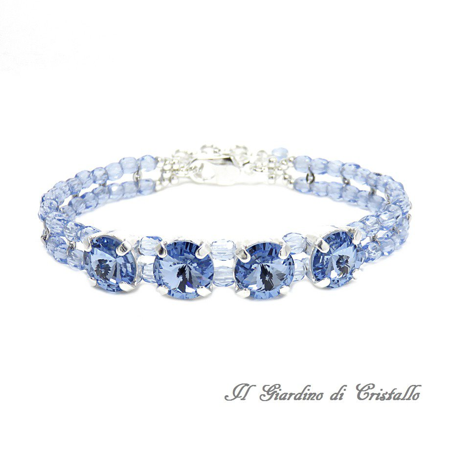 Bracciale cristalli Swarovski Rivoli blu zaffiro chiaro e mezzi cristalli fatto a mano - Ibisco