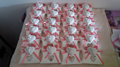bomboniera per matrimonio cuore in rosa antico