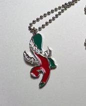 Collana modello pallinato argento con ciondolo a forma di Asso di Bastoni
