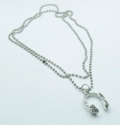 Collana modello pallinato argento con ciondolo a forma di Cuffie DJ