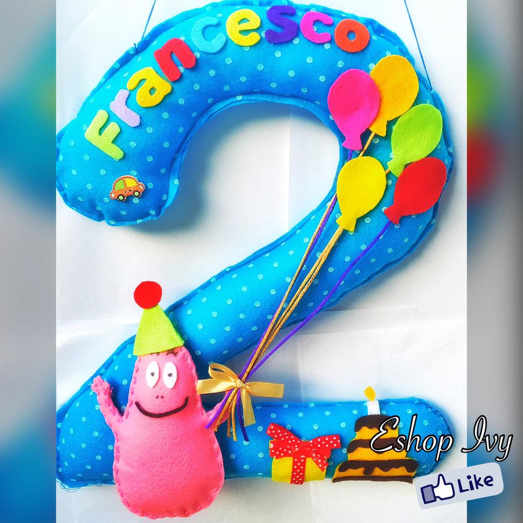 Compleanno banner numero centro tavola decorazione bomboniera con nome e personaggio