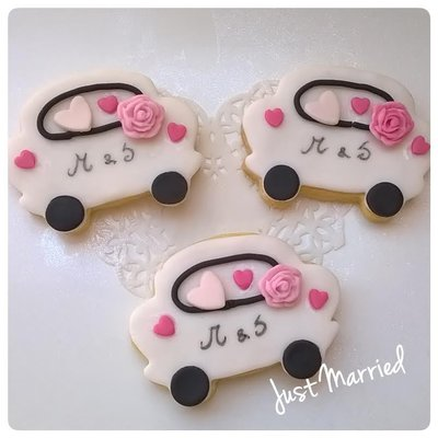 biscotto decorato macchina sposi, matrimonio, segnaposto