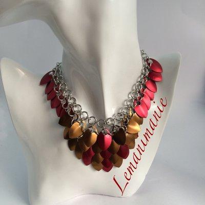 #collana #scaglie #drago #rossa