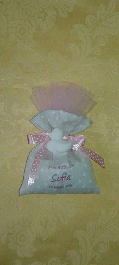 Bomboniera battesimo bimba sacchetto con gessetto profumato
