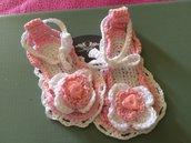 Sandali bimba uncinetto rosa neonata