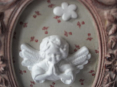 Quadretto decorativo ovale, rosa, in stile shabby chic con angiol ...