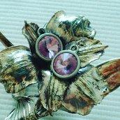 Orecchini argento e Swarovski rivoli rosa
