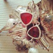 Orecchini argento e Swarovski rosso