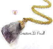 """Collana Collezione """"Precious"""" in cristallo - Sfumature viola e ottone dorato"""
