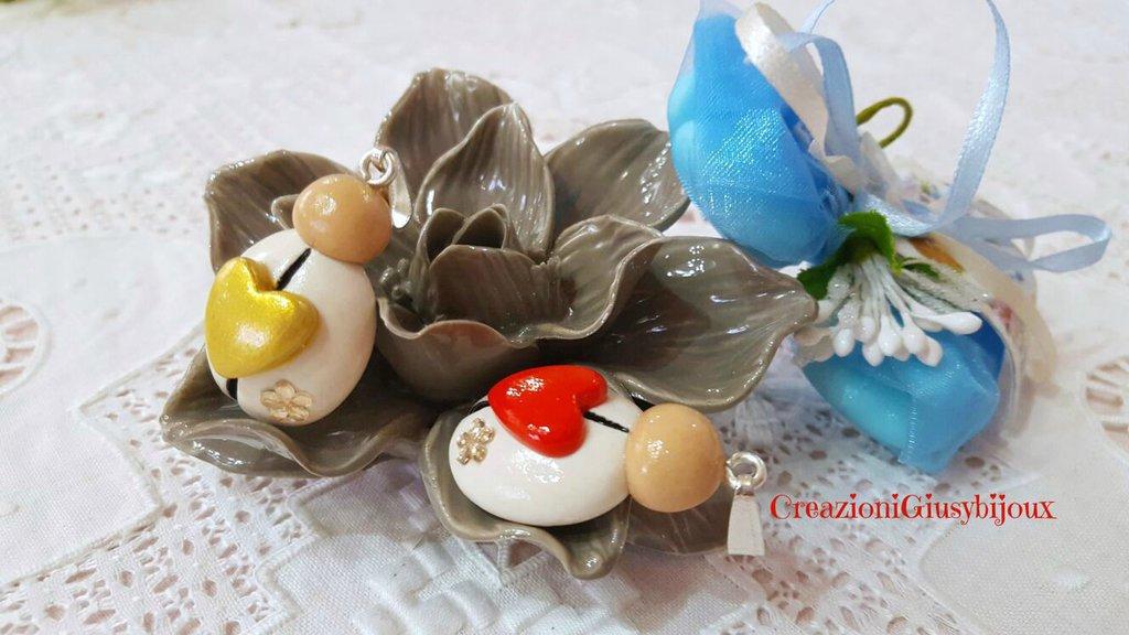 Segnaposto  bomboniera  ciondolo cuore di Coccinella